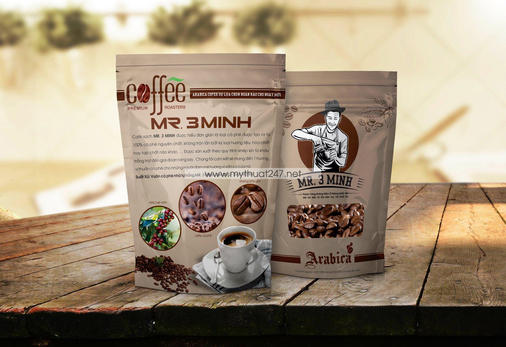 Thiết kế logo cà phê Mr 3 minh