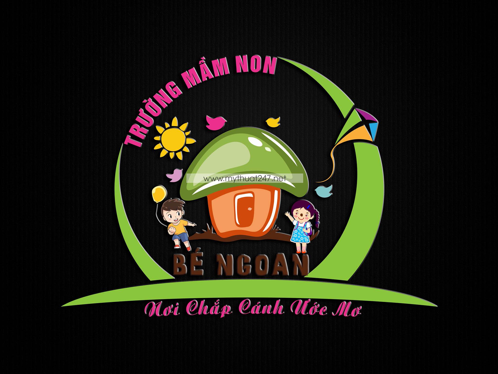 Thiết kế trường logo mần non Bé Ngoan