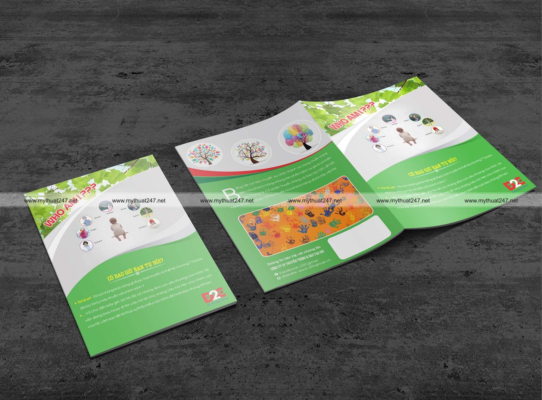 Thiết kế brochure công ty cp truyền thông & đào tạo d2c
