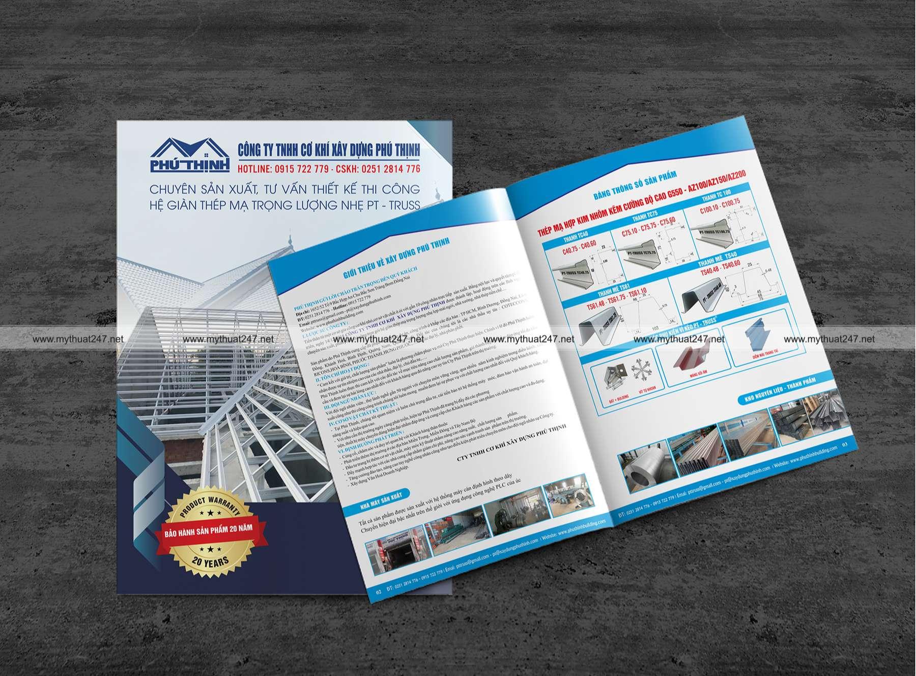 Thiết kế cataloge công ty tnhh cơ khí xây dựng phú thịnh
